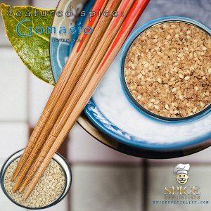 Spice Specialist- Website, Blog, Recipe  & Social Media Graphic promoting spice Gomasio