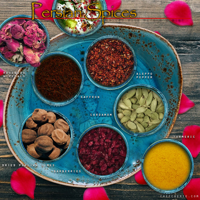 Chef Cherie - Website, Blog & Social Media Graphic promoting Persian Spices